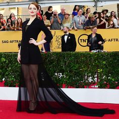 Emma Stone looked beautiful in a bold sheer skirt at the 2015 SAG Awards on Sunday, Jan. 25; find out what she had to say about her recent photobomb and Meryl Streep's visit to her Cabaret show!