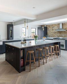 Open Plan Kitchen Living Room, Kitchen Design Open, Kitchen Dining Living, Open Concept Kitchen, Home Decor Kitchen, Interior Design Kitchen, New Kitchen, Kitchen Ideas, Kitchen Wood