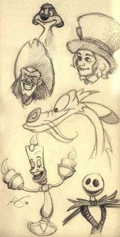 Fun character sketches- Timon, Court Jester, Mad Hatter, Mushu, Lumiere, and Jack Skellington