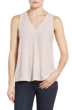 Vince Camuto Pleat Front V-Neck Blouse