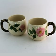 Franciscan Desert Rose (2) Small Rounded Mugs Hot Chocolate Cocoa Coffee