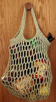 This bag is crocheted in the round from the top down. It might be helpful to use a paperclip or a stitch marker to define the start of the round.