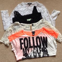 Bundle⚫️ 4 Lace Shirts Super Cute variety of Lace shirts. All large except creme colored shirt sleeve med   Great condition/ no stains( 1 shirt is wet seal) Wet Seal Tops Tees - Short Sleeve
