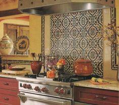 for the kitchena stencil? metallic gold stenciled kitchen back
