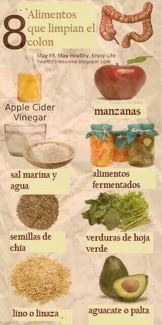 8 alimentos que limpian el colon: • Vinagre de sidra de manzana • Manzanas • Sal marina y agua • Alimentos fermentados • Semillas de chía • Verduras de hoja verde • Lino o linaza • Aguacate