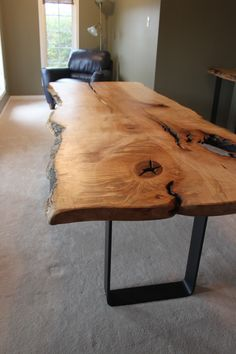 LIVE EDGE MAPLE HARVEST TABLE WITH METAL BASE MODERN-DINING-ROOM