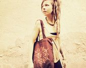 FLOWER of LIFE... brown Eco Cotton Bag handpainted