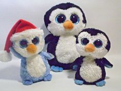 """Ty Beanie Boo Penguins 6"""" FAIRBANKS, 6"""" WADDLES, and 9"""" WADDLES Sparkle Eyes #Ty"""