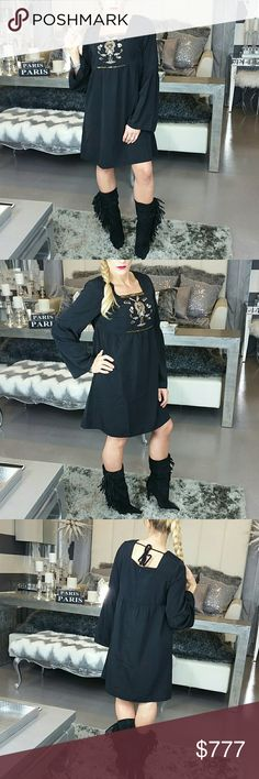 Beaded tunic dress NWT Brand new with tags  Black tunic style dress featuring embroided beaded and sequin details. Bell sleeves. Perfect for the season, pair with boots and off you go looking chic! Zips up in back and ties on back  SIZE SMALL 100%POLYESTER  Shop with confidence Suggested User Same day shipping 5 star rated closet Top seller Dresses Long Sleeve