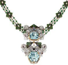 Aquamarine, Diamond And Enamel Pendant/Necklace Mounted In Gold And Platinum Enamel Jewelry, Art Deco Jewelry, Antique Jewelry, Vintage Jewelry, Fine Jewelry, Pearl And Diamond Earrings, Diamond Pendant Necklace, Diamond Stud, Necklace Set
