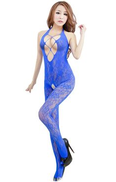 Rokou Sexy Lingerie Halterneck Open Crotch Fishnet Bodystocking Bodysuit. Stylish and unique design. Material: Polyester. Size: One size fits XS-M(US2-US6). Hot Sexy,Wild,Perfect gift for Lovers. Package Content: 1 x Women's Bodystocking(Not included the G-string).