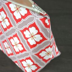 Coral and Taupe Vintage Tile Floral Cosmetic Bag – Le Pique Nique, $13.95
