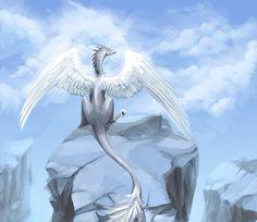 Lightness by EagleRedbeak on DeviantArt Mythical Creatures Art, Mythological Creatures, Magical Creatures, Fantasy Creatures, Yin Yang, Dragon Artwork, Gold Dragon, Creature Drawings, Dragon Pictures
