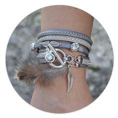 Bracelets multi-rangs en cuir plat incrusté