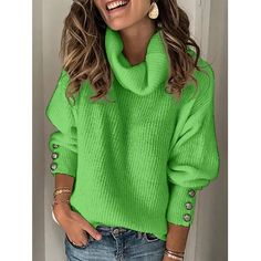 Plus Size Long Sleeve Plain Casual Sweater Women's Turtleneck Street Tops Pullover Warm Knitted Casual Sweaters, Winter Sweaters, Pullover Sweaters, Pullover Pullover, Vintage Sweaters, Women's Sweaters, Christmas Sweaters, Jumper, High Collar