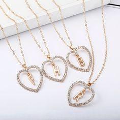 2018 Simple Gold Color Love Heart Necklaces   Pendants Double Rhinestone  Choker Necklace Women Statement Jewelry Bijoux x1 fc02a8b14b53