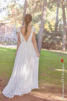Long Wedding Dress SuzannaM Designs Bohemian by SuzannaMDesigns