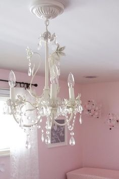 Would love to find an old chandelier for Macy's bedroom!  Uber girly!