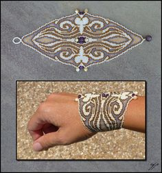 """(2012) 9""""x 3"""", Size 15 seed beads (matte bone, dark bronze, transparent lilac lined, opalescent gold lined), mother-of-pearl and amethyst beads, polyester thread. A friend recently asked me to shor..."""