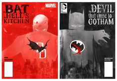 BATMAN and DAREDEVIL Crossover Art. I want this on my wall. My actual wall. In my house. Just clarifying.