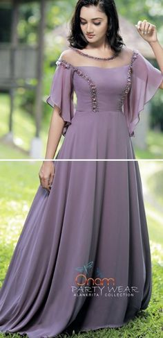 Designer Party Wear Dresses, Designer Gowns, One Piece Gown, Gown Party Wear, Frock Patterns, Fancy Kurti, Simple Gowns, Kurta Neck Design, Frock Design