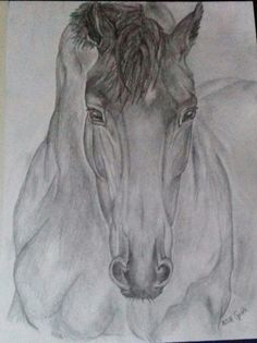 Horse drawing from me ♡ Lion Sculpture, My Arts, Horses, Statue, Drawings, Animals, Animales, Animaux, Sketches