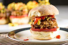Ground Pork Sriracha Sliders with Roasted Jalapeno-Mango Salsa from Chili Pepper Madness
