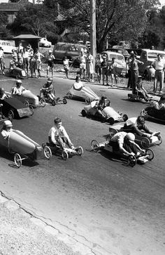 January 29, 1962: A wild suburban billy cart race. Picture: Herald Sun Image Library
