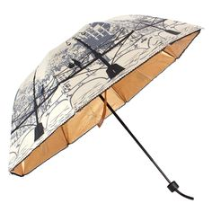 UNIQUEBELLA Lightweight Stylish Compact Folding Art Painting Anti-UV Rain / Sun Travel foldable Dome Umbrella, Beige
