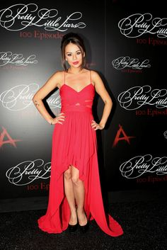 Janel was stunning in red at the #PLL100 party! Don't miss the #PLL100 episode Tuesday, July 8 on ABC Family! | Pretty Little Liars
