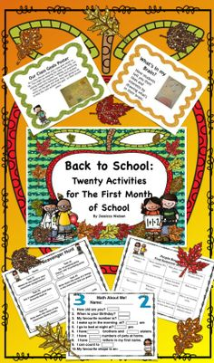 $ Back to School: Twenty Activities for the First Month of School includes: twenty engaging activities to help you and your students get to know each other during the first month of school.