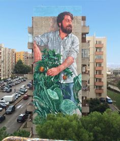 Fintan Magee - The Gardener, Ragusa festiwall, Public art Festival. 3d Street Art, Murals Street Art, Urban Street Art, Best Street Art, Amazing Street Art, Art Mural, Street Art Graffiti, Street Artists, Graffiti Artists