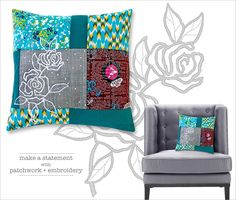 Embroidered Patchwork Pillow: Janome America | Sew4Home