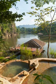 Pools and a floating hut on the River Kwai, Khwae Noi River, Hin Tok, Kanchanaburi Province, Central Thailand, Thailand