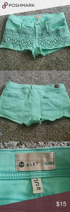 Tribal Pattern Mint Shorts Super cute Roxy denim shorts. Worn once. Great condition. Size 7/28 tag says. Roxy Shorts Jean Shorts