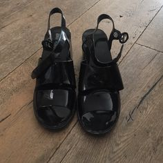 Black jelly sandals Black American apparel jelly sandals. Worn one time American Apparel Shoes Sandals