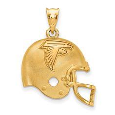518c78d15 Sterling Silver Gold-plated LogoArt Atlanta Falcons Football Helmet Pendant
