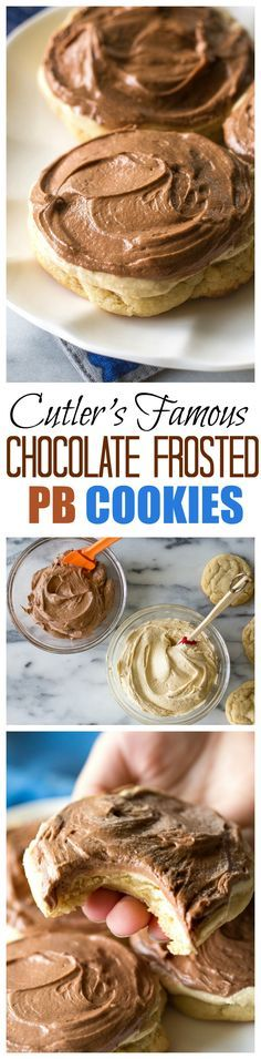 Cutler's Famous Chocolate Frosted Peanut Butter Cookies - not one frosting but two! One of my absolute favorite cookies. from @GirlWhoAte
