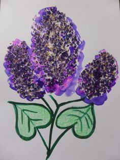 LILAC  Use: paper, paintbrush, green and violet watercolours, glue, oatmeal. by Jana