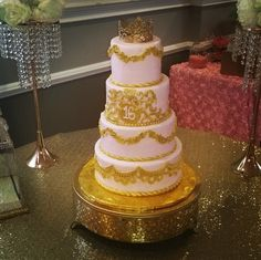 Regal pink & gold sweet 16 cakewww.facebook.com/carinaedolce  #carinaedolce www.carinaedolce.com Sweet 16, Pink And Gold, Facebook, Cake, Desserts, Food, Pie Cake, Meal, Sweet Sixteen
