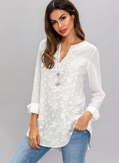 Shop Floryday for affordable XXL XL Blouses. Floryday offers latest ladies' XXL XL Blouses collections to fit every occasion. Long Blouse, Short Sleeve Blouse, Swimwear Fashion, Mode Style, White Long Sleeve, Latest Fashion For Women, Blouses For Women, Ideias Fashion, Tunic Tops
