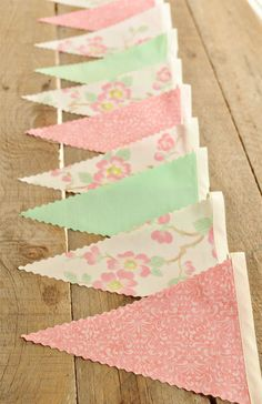Cherry Blossom  - Vintage Bunting Banner - Free Shipping US and Canada