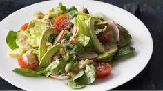 Salát s avokádem a hořčičnou zálivkou Sprouts, Cabbage, Healthy Living, Healthy Recipes, Fresh, Chicken, Vegetables, Cooking, Vegetable Salads