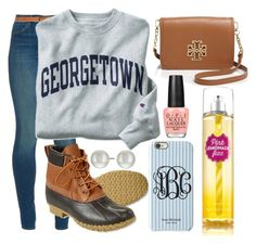 """""""texting a certain person:)"""" by elizabethannee ❤ liked on Polyvore featuring J Brand, Champion, L.L.Bean, Isaac Mizrahi, Tory Burch, Kenneth Jay Lane and OPI"""