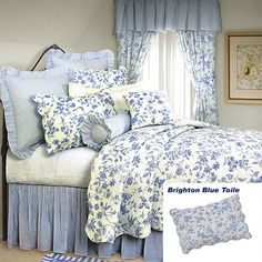 French Country Shabby Chic Brighton Blue Toile Quilt- Classic Blue Floral Toile on White background and reverses to the Blue and White ticking stripe.