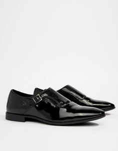 10344190a3 Asos DESIGN Monk Shoes In Black Faux Leather With Emboss Detail Black Faux  Leather, Mens