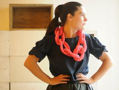 Ghetto chain chunky crochet jewelry - upcycled/recycled jewelry - back to school - jersey necklace - hipster clothing via Etsy
