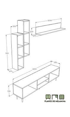 PLANOS DE MUEBLE - CONSOLA PARA TV Tv Shelf Design, Simple Tv Unit Design, Tv Unit Interior Design, Tv Cabinet Design, Shelving Design, Tv Unit Decor, Tv Wall Decor, Wall Decor Design, Wall Unit Designs