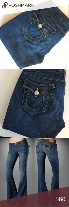 """True Religion """"Carrie"""" Denim Jeans Amazing gently used condition, see photos! Perfect flare jeans. See last photo for approximate measurements. True Religion Jeans"""