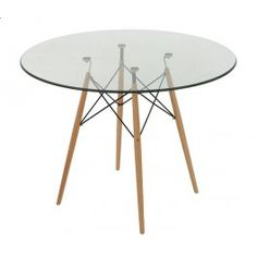 Replica Eames 100cm Glass Round Dining Table